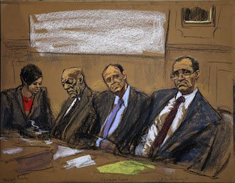 Cosby and lawyers feb 2 court drawing Monique Pressley, Brian McMonagle, Christopher Taybeck, Bill Cosby