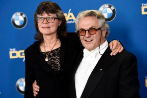 "Director George Miller, a feature film award nominee for ""Mad Max: Fury Road,"" poses with his wife, film editor Margaret Sixel, at the 68th Directors Guild of America Awards at the Hyatt Regency Century Plaza on Saturday, Feb. 6, 2016 in Los Angeles. (Photo by Chris Pizzello/Invision/AP)"