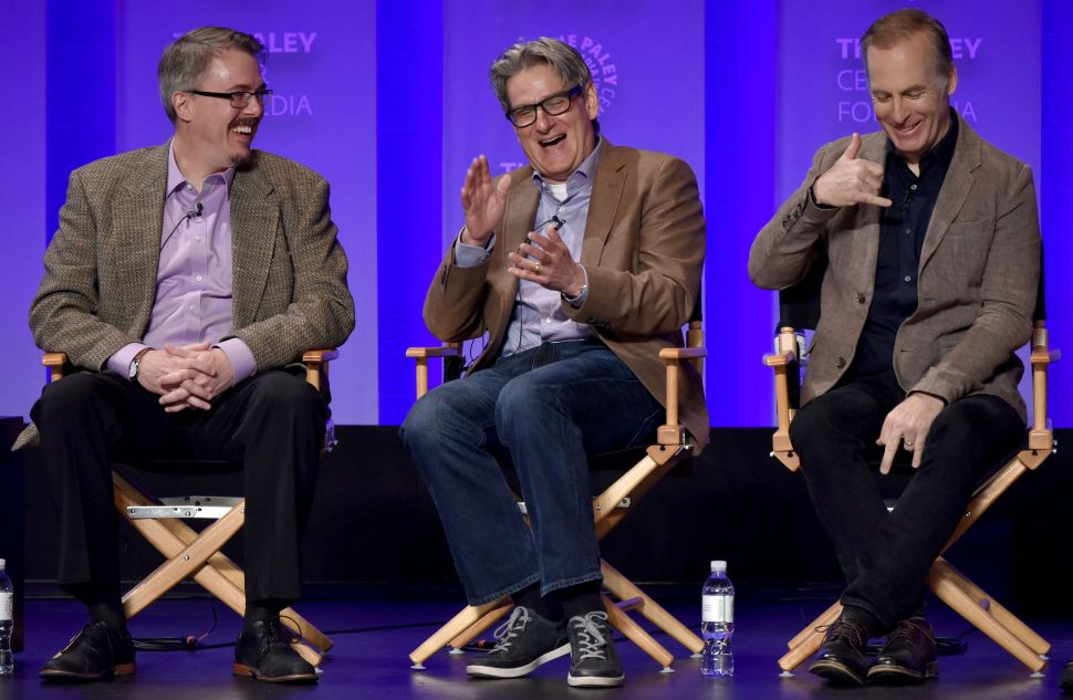 Vince Gilligan, Peter Gould, and Bob Odenkirk represent the series in good cheer at Paleyfest.