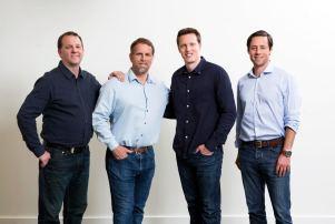 From left, Chris Busse, GM of Skydance Interactive; Peter Akemann, CEO of Skydance Interactive; David Ellison, CEO of Skydance Media; Jesse Sisgold, COO of Skydance Media