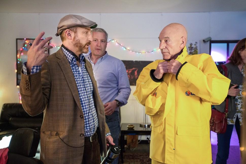 Jonathan Ames and Patrick Stewart talking shop on set of Blunt Talk.