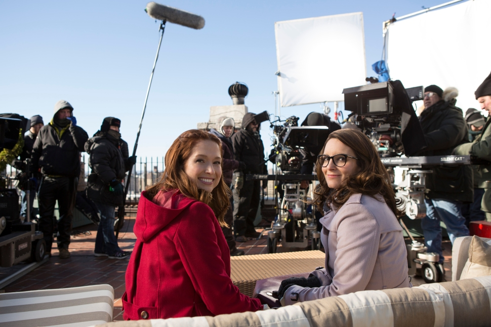 Ellie Kemper and Tina Fet on set of Unbreakable Kimmy Schmidt.