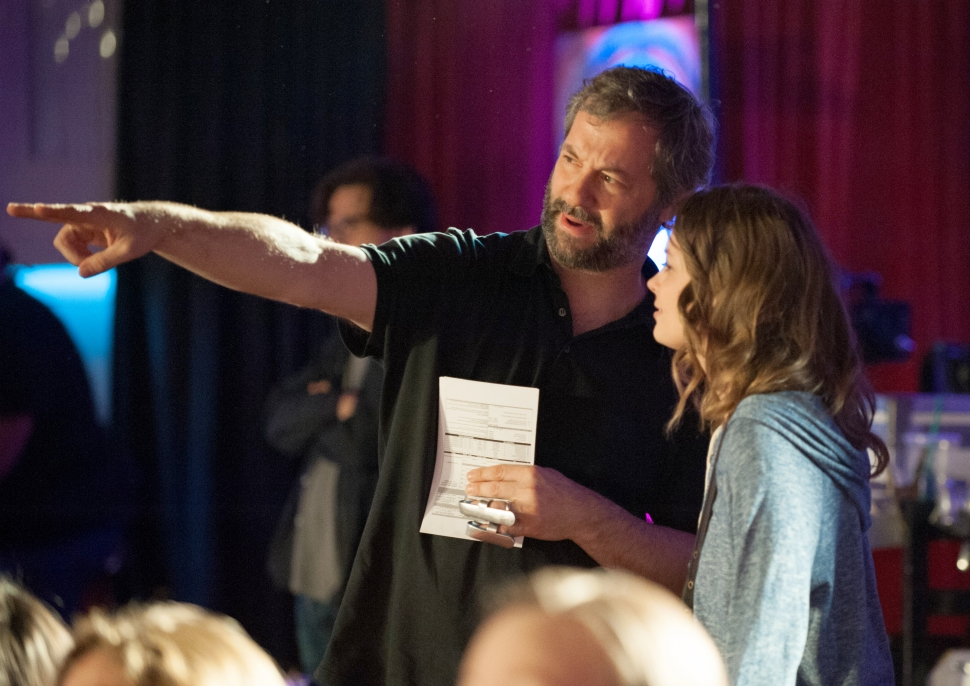 Jacobs consulting with co-creator Judd Apatow.