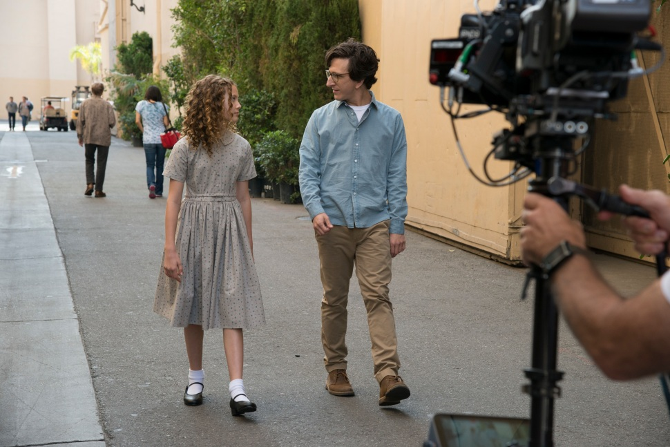 Rust shooting it out on the backlot with scene-stealer Iris Apatow