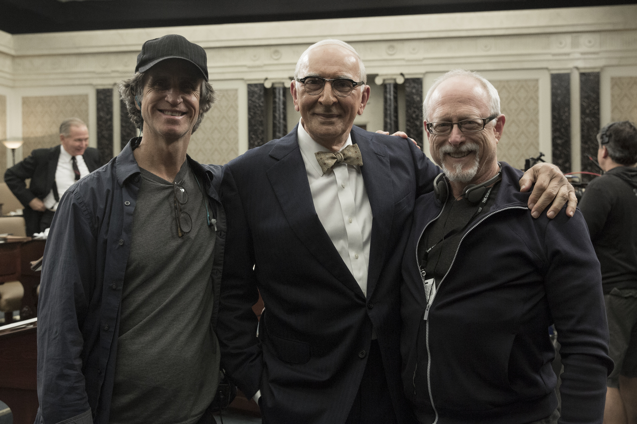Roach and Schenkkan with Frank Langella on the set of All the Way.
