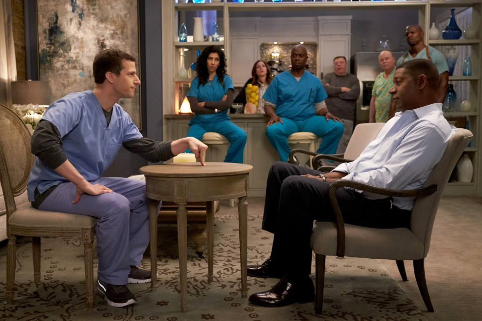 "BROOKLYN NINE-NINE: L-R: Andy Samberg, Stephanie Beatriz, Chelsea Peretti, Andre Braugher, Dirk Blocker, Joel McKinnon Miller, Terry Crews and guest star Dennis Haysbert in the ""Greg and Larry"" season finale episode of BROOKLYN NINE-NINE airing Tuesday, April 19 (9:00-9:30 PM ET/PT) on FOX. ©2016 Fox Broadcasting Co. CR: John P. Fleenor/FOX"