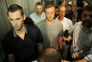 US Olympic swimmers Gunnar Bentz and Jack Conger held by police at Galeao Airport, Rio de Janeiro, Brazil - 17 Aug 2016