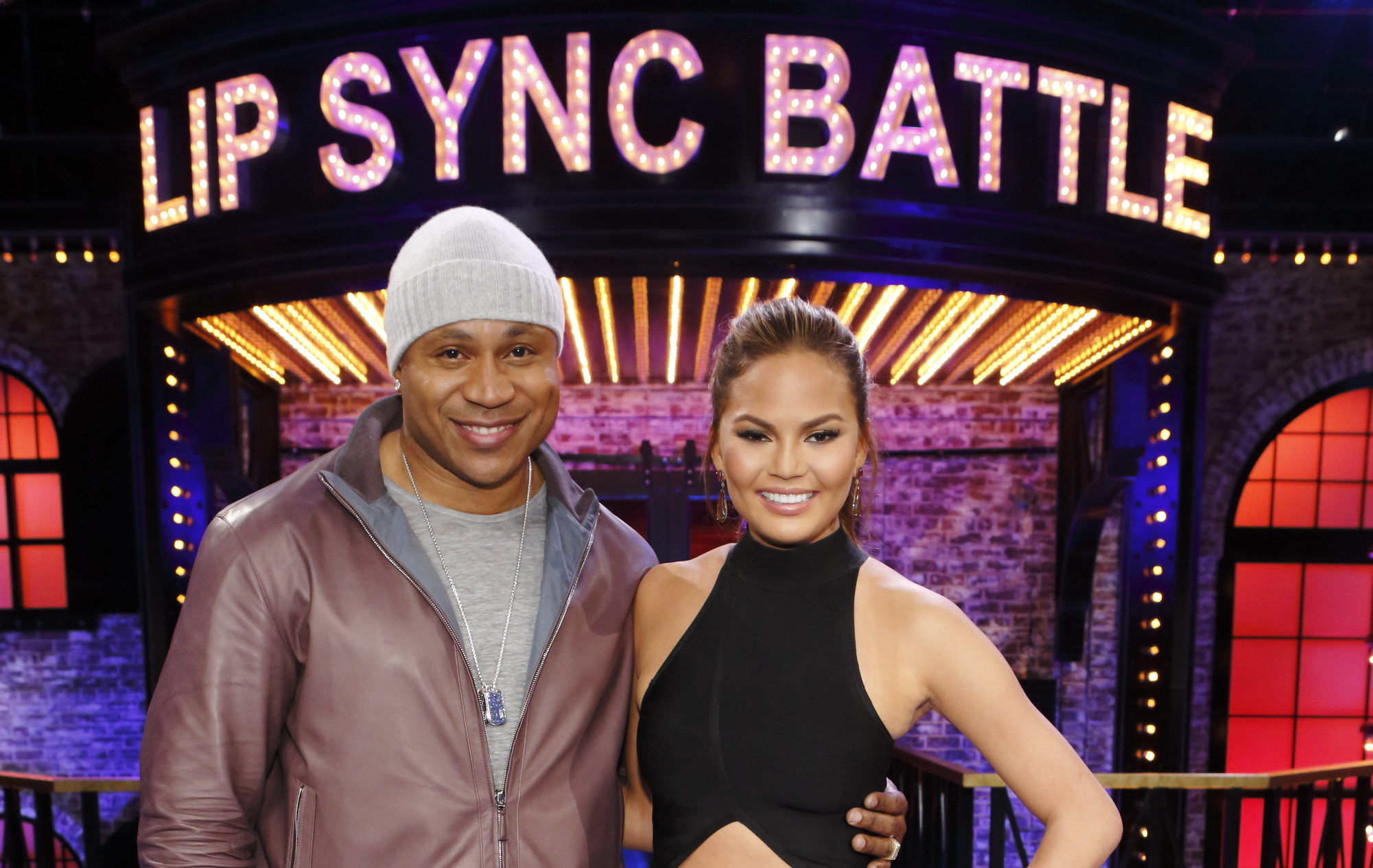 LL Cool J and Chrissy Teigen on the set of Lip Sync Battle.