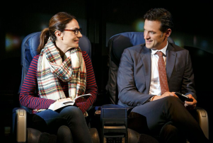 "Annie Parisse and Adam Rothenberg in 'The Layover"" at New York's Second Stage."