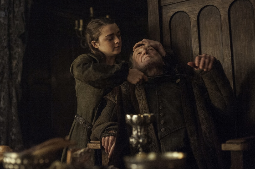 The death of Walder Frey at the hands of Arya Stark, bringing the series full circle.