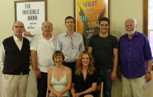"""Mark Lamos' Westport Country Playhouse is currently presenting """"What the Butler Saw"""" with, from left, seated, Sarah Manton, Patricia Kalember; standing, Paxton Whitehead, Julian Gamble, Robert Stanton, Chris Ghaffari, and director John Tillinger."""