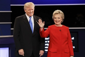 Copyright 2016 The Associated Press. All rights reserved. This material may not be published, broadcast, rewritten or redistributed without permission. Mandatory Credit: Photo by John Locher/AP/REX/Shutterstock (6021024ag) Republican presidential nominee Donald Trump and Democratic presidential nominee Hillary Clinton are introduced during the presidential debate at Hofstra University in Hempstead, N.Y Presidential Debate, Hempstead, New York, USA - 26 Sep 2016