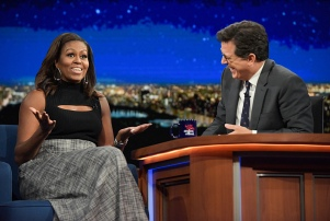 The Late Show With Stephen Colbert. With guest Michelle Obama during Tuesday's 9/20/16 show in New York. Photo: Scott Kowalchyk/CBS ©2016CBS Broadcasting Inc. All Rights Reserved.