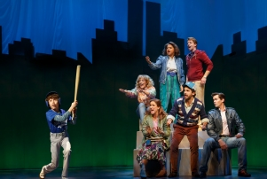 Anthony Rosenthal, left, and the cast of 'Falsettos.'