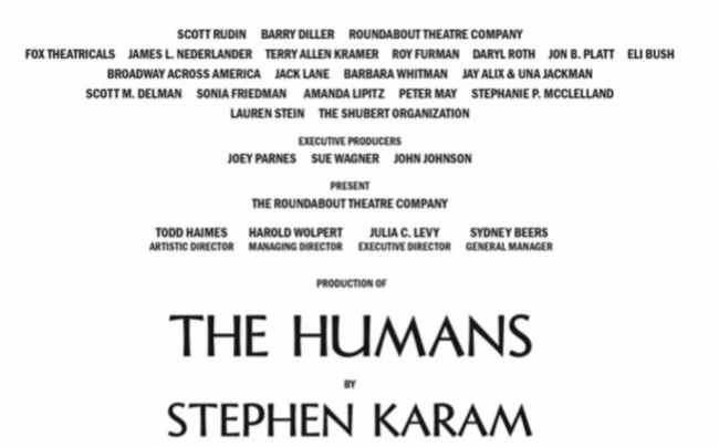Playbill listing for 'The Humans' on Broadway.