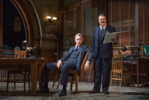 John Slattery and Nathan Lane in 'The Front Page' on Broadway