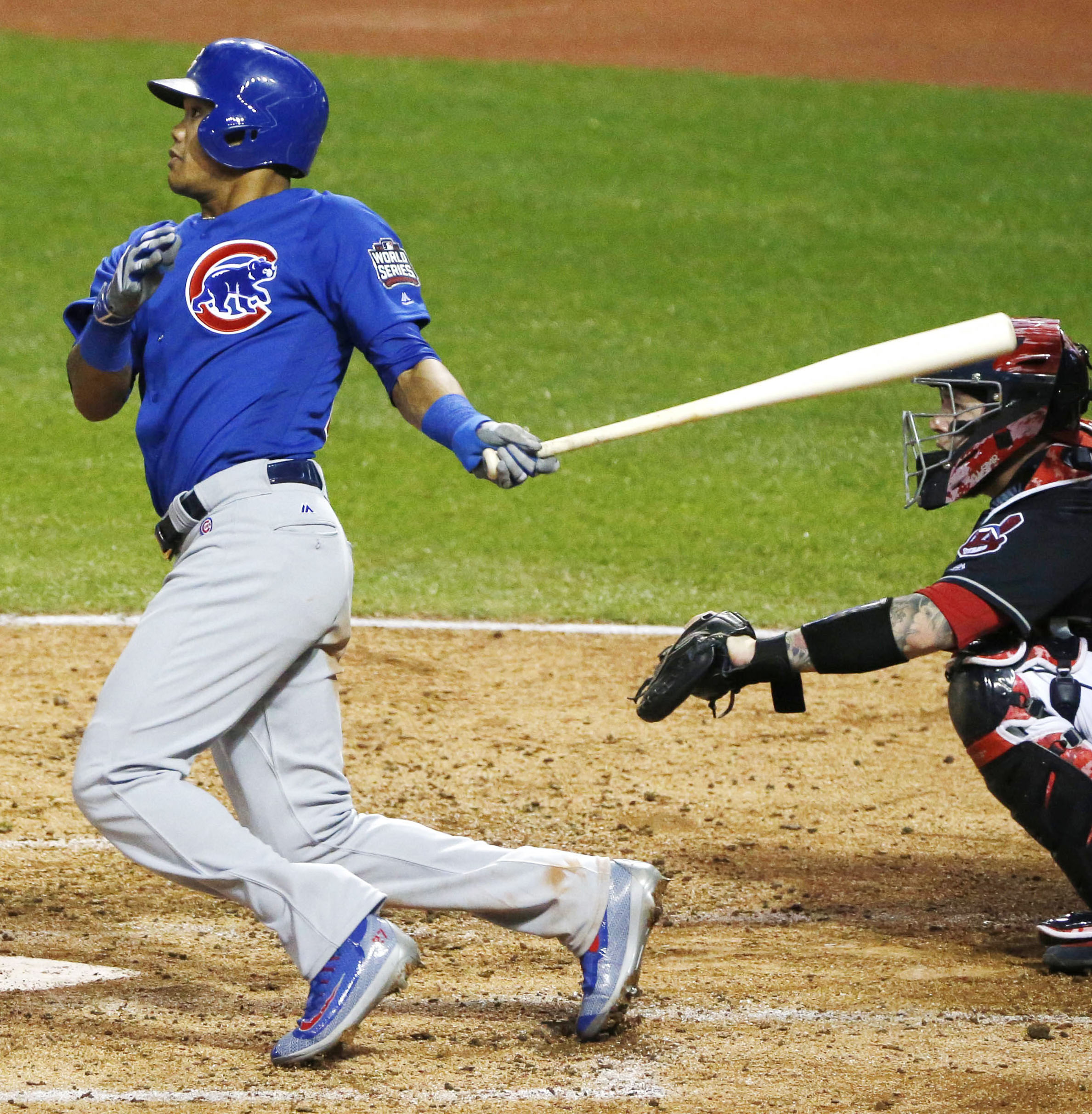 Addison Russell of the Chicago Cubs hits a grand slam in the third inning in Game 6 of the World Series against the Cleveland Indians at Progressive Field in Cleveland, Ohio, on Nov. 1, 2016. (Kyodo) ==Kyodo