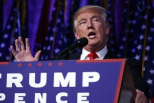 Copyright 2016 The Associated Press. All rights reserved. This material may not be published, broadcast, rewritten or redistributed without permission. Mandatory Credit: Photo by Evan Vucci/AP/REX/Shutterstock (7427134v) Donald Trump President-elect Donald Trump speaks during an election night rally, in New York 2016 Election Trump, New York, USA - 09 Nov 2016