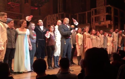Brandon Victor Dixon addressing Vice President-Elect Mike Pence after Friday night's performance of 'Hamilton.'