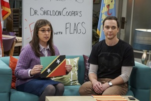 """The Veracity Elasticity"""" -- Pictured: Amy Farrah Fowler (Mayim Bialik) and Sheldon Cooper (Jim Parsons).  In order to continue living with Sheldon, Amy lies to him about repairs being made to her apartment and they host an """"on location"""" episode of """"Fun With Flags"""" in Penny's apartment. Also, Leonard lets Penny decorate Sheldon's old room after he learns that she has been secretly moving Leonard's collectibles into storage, on THE BIG BANG THEORY, Thursday, Nov. 3 (8:00-8:31 PM, ET/PT), on the CBS Television Network. Photo: Monty Brinton/CBS ©2016 CBS Broadcasting, Inc. All Rights Reserved."""