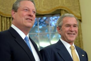 Mandatory Credit: Photo by REX/Shutterstock (716361d) Nobel Peace Prize winner former Vice President Al Gore and American President George W Bush in the Oval Office. President Bush meets with 2007 Nobel Award winners at The White House, Washington DC, America - 26 Nov 2007