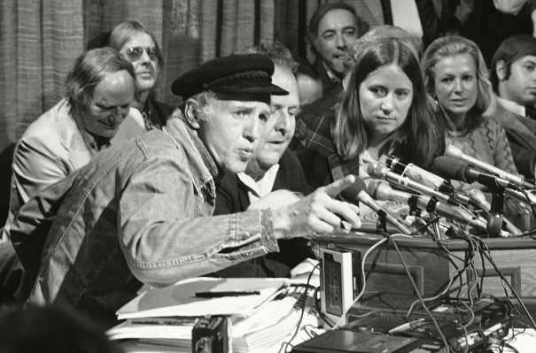 Haskell Wexler, left, in a press conference about the making of the Weather Underground movie