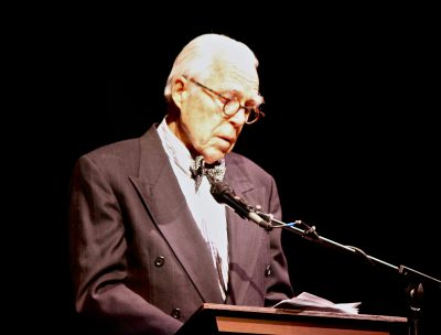 Playwright John Guare, speaking at the memorial for Edward Albee.