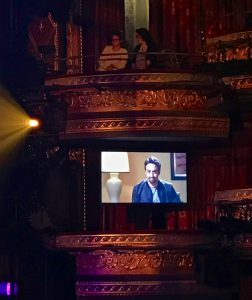 'Hamilton' creator Lin-Manuel Miranda, appearing via video, at the launch of 'The Hamilton Mixtape.'