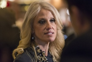 Trump campaign manager Kellyanne Conway speaks to members of the press in the lobby of Trump Tower Donald Trump transition meetings, New York, USA - 15 Dec 2016 (Rex Features via AP Images)
