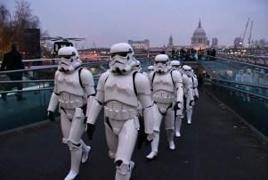 Star Wars Stormtroopers on Millennium Bridge, London, UK - 15 Dec 2016