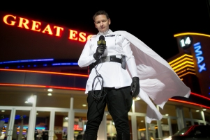 "Scott Pineau of Dalton, Pa., is dressed as Director Orson Krennic for the opening night of ""Rogue One,"" a new movie in the Star Wars series at the Regal Theater in Dickson City, Pa."