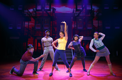 Ariana Debose, center, with Gilbert L. Bailey II, Bradley Gibson, Trista Dollison and Christiani Pitts, in 'A Bronx Tale' on Broadway.