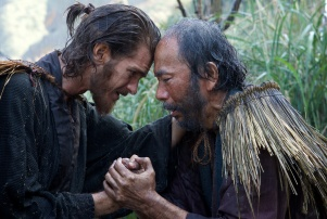 L-R: Andrew Garfield plays Father Rodrigues and Shinya Tsukamoto plays Mokichi in the film SILENCE