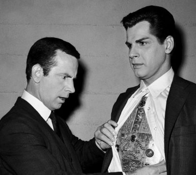 Don Adams as Maxwell Smart and Gautier as Hymie The Robot.