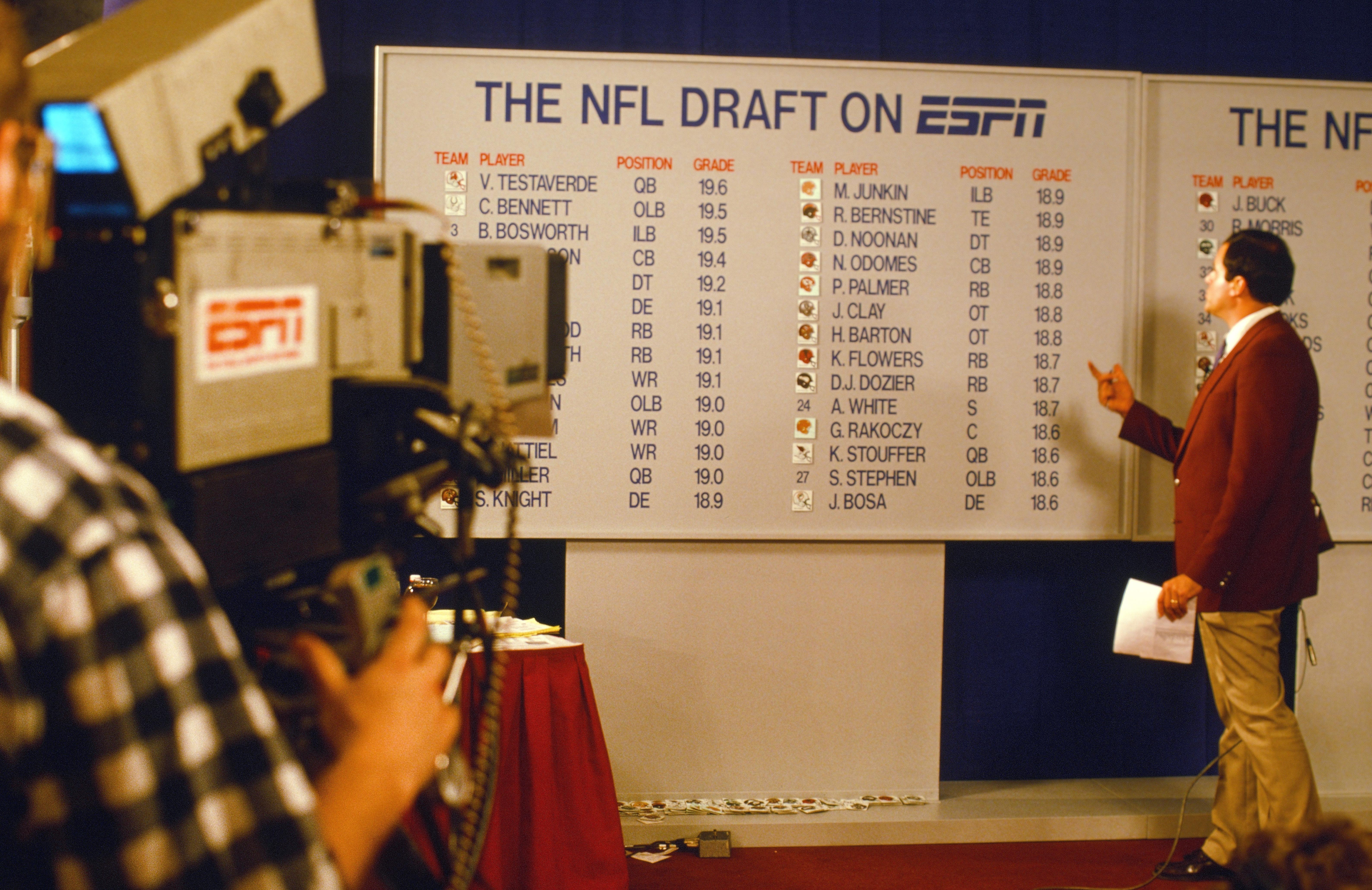 ESPN sports analyst Chris Berman looks at the draft board while on camera during the 1987 NFL Draft on April 28, 1987 in New York. (Paul Spinelli via AP)