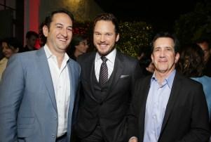 Warner Bros' Greg Silverman, left, Chris Pratt and Chris deFaria