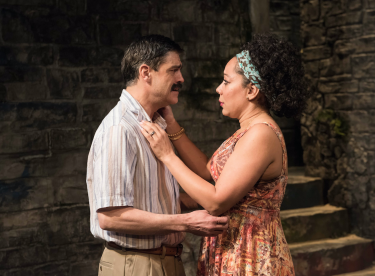 Juan Carlos Hernández and Selinis Leyva in 'Tell Hector I Miss Him' at the Atlantic Theater Company in New York.