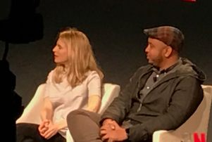 Brit Marling and Justin Simien at the Netflix panel in New York.