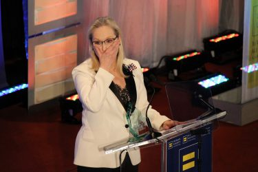 Meryl Streep, while singing the words of Emma Lazarus.