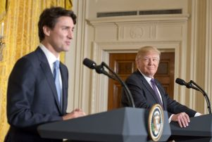 Mandatory Credit: Photo by REX/Shutterstock (8373757p) United States President Donald J. Trump, right, and Prime Minister Justin Trudeau of Canada, left, conduct a joint press conference in the East Room of the White House Justin Justin Trudeauau meets with President Donald Trump - 13 Feb 2017