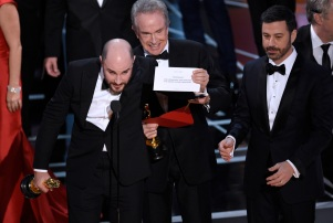 Jordan Horowitz, Warren Beatty, Jimmy Kimmel Oscar