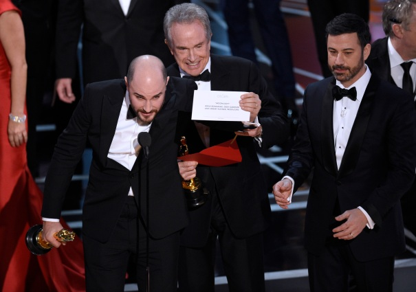 Jordan Horowitz, Warren Beatty, Jimmy Kimmel Oscar