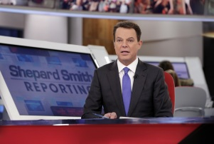 """Copyright 2017 The Associated Press. All rights reserved. This material may not be published, broadcast, rewritten or redistributed without permission. Mandatory Credit: Photo by AP/REX/Shutterstock (8174471e) Fox News Channel chief news anchor Shepard Smith broadcasts from The Fox News Deck during his """"Shepard Smith Reporting"""" program, in New York TV Fox Smith, New York, USA - 30 Jan 2017"""