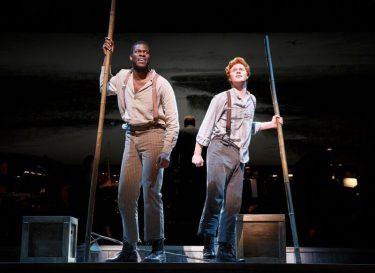 "Kyle Scatliffe and Nicholas Barasch in the Encores! presentation of ""Big River."""