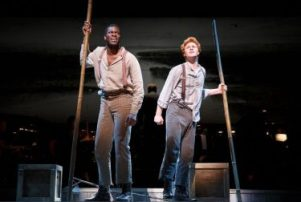 "Kyle Scatliffe and Nicholas Barasch in the Encores! presentation of ""Big River."""