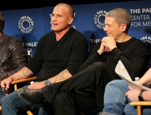 BEVERLY HILLS, CA - March 29, 2017: Actors Dominic Purcell (L) and Wentworth Miller speak onstage during a Q&A at PaleyLive LA's premiere screening and panel event for FOX's 'Prison Break' on March 29 at The Paley Center for Media in Beverly Hills, CA (Photo by)