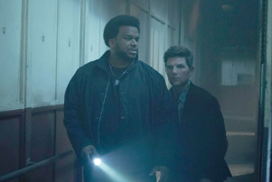 "Ghosted Adam Scott and Craig Robinson ""It wasn't written for anybody else,"" Gormican said of Scott and Robinson, pictured in the pilot."