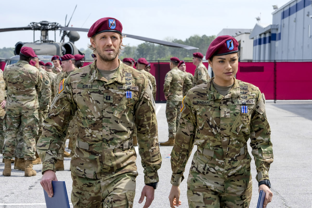 "Valor -- ""Pilot"" -- Image VAL101b_0929 -- Pictured (L-R): Matt Barr as Gallo and Christina Ochoa as Nora -- Credit: Mark Hill/The CW -- © 2017 The CW Network, LLC. All Rights ReservedValor -- ""Pilot"" -- Image VAL101b_0929 -- Pictured (L-R): Matt Barr as Gallo and Christina Ochoa as Nora -- Credit: Mark Hill/The CW -- © 2017 The CW Network, LLC. All Rights Reserved"