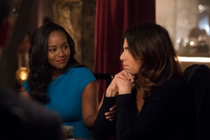 "HOW TO GET AWAY WITH MURDER - ""I'm Going Away"" - In the wake of Wes' tragic death, Annalise returns to her family home to pick up the pieces of her shattered life, and realizes that, in order to rebuild, she must make a tough and shocking decision. Meanwhile, ""the Keating 4"" all face an uncertain future while Laurel becomes obsessed with finding out what actually happened to Wes the night he died. In a flash-forward, a terrifying crime is committed and everyone is a suspect on the highly anticipated season four premiere of ""How to Get Away with Murder,"" THURSDAY, SEPTEMBER 28 (10:00-11:00 p.m. EDT), on The ABC Television Network. (ABC/Mitch Haaseth) AJA NAOMI KING, KARLA SOUZA"