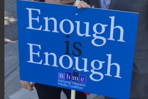 National Hispanic Media Coalition Protest Sign